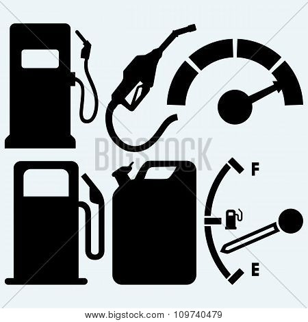 Gas tank, gas station and jerrycan