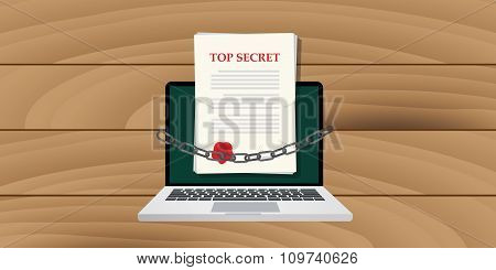 online top secret document illustrated with chain