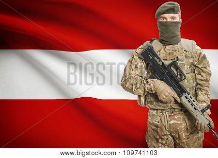 Soldier Holding Machine Gun With Flag On Background Series - Austria