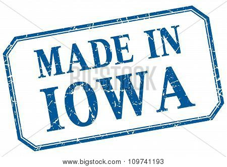 Iowa - Made In Blue Vintage Isolated Label