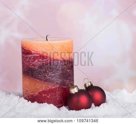 Candle And Christmas Baubles