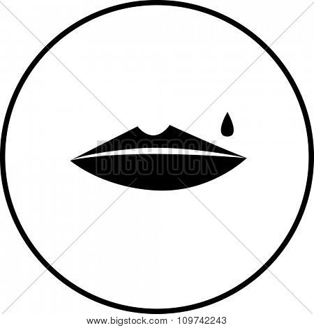 sad female lips symbol