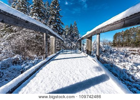 Snow covered footbridge.