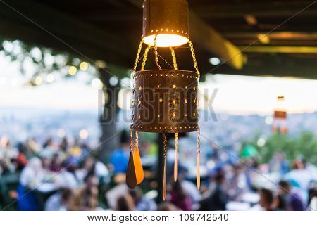 Lanterns for Ramadan with people crowd waiting for iftar