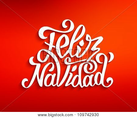 Feliz navidad lettering. Merry Christmas greetings
