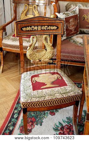 Antique Chair In The  Living Room Manor House In The Family Estate Of Lermontov Tarkhany