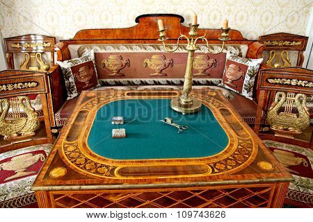 Card Table In The  Living Room Manor House In The Family Estate Of Lermontov Tarkhany