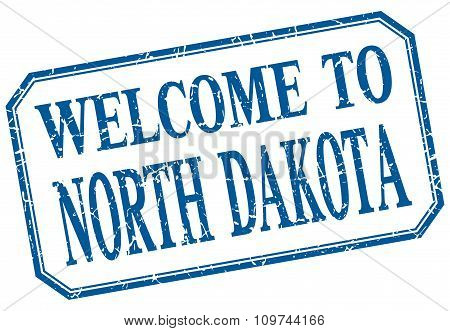 North Dakota - Welcome Blue Vintage Isolated Label