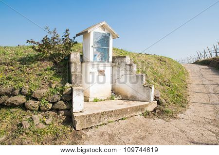 Italian Traditional Votive Temple In The Countryside Dedicated To The Holy Family
