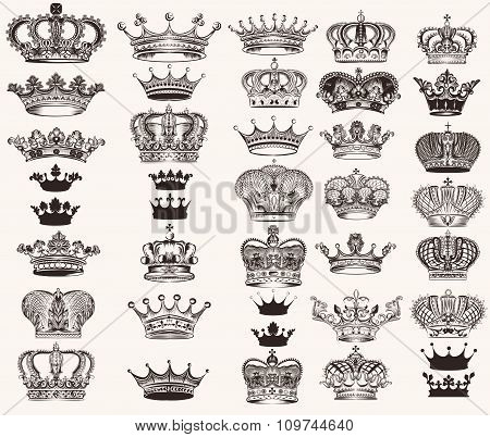 Set Of Vector High Detailed Crowns For Design