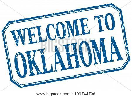 Oklahoma - Welcome Blue Vintage Isolated Label