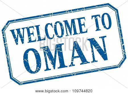 Oman - Welcome Blue Vintage Isolated Label