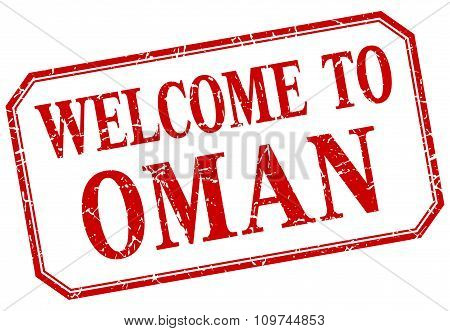Oman - Welcome Red Vintage Isolated Label