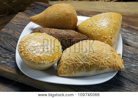 Savory traditional in Brazil, pie, kebab, drumstick, pastel.