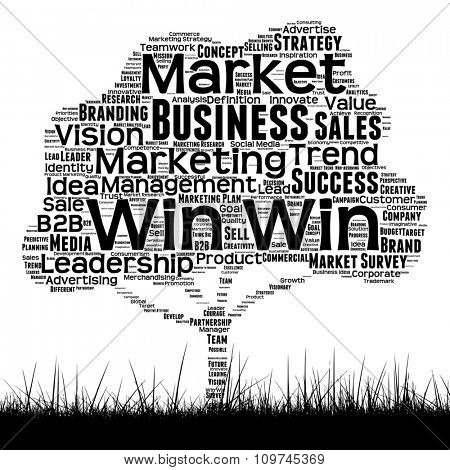 Concept or conceptual black media tree and grass word cloud on white background