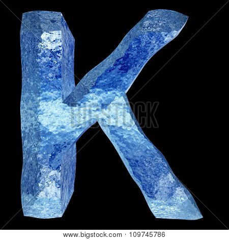 Concept conceptual 3D blue water or ice font part of set or collection isolated on black background for winter