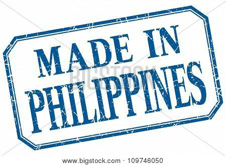 Philippines - Made In Blue Vintage Isolated Label