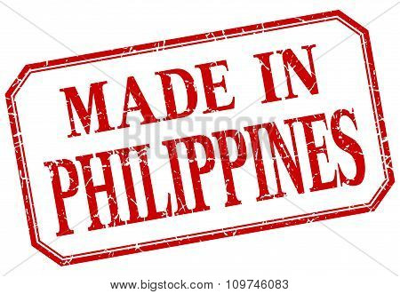 Philippines - Made In Red Vintage Isolated Label