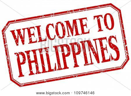 Philippines - Welcome Red Vintage Isolated Label