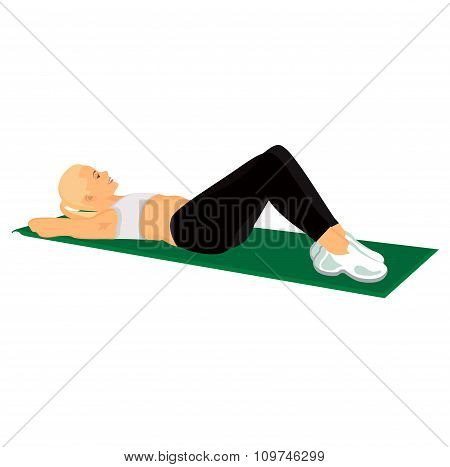 Abs training fitness poster, emblem, vector illustration