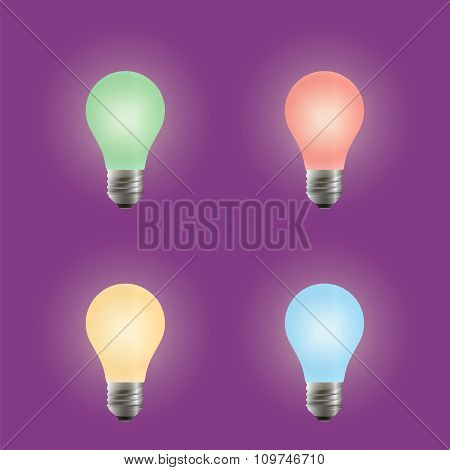 Light Bulb. Different Variants Of Colors.