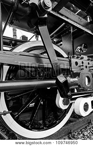 Black And White Detail And Close Up Of Huge Wheels At One Old Steam Locomotive 8