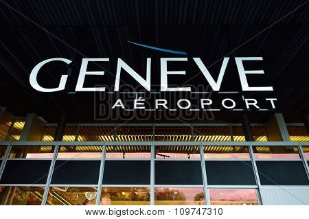 GENEVA, SWITZERLAND - NOVEMBER 19, 2015: element of Geneva Airport. Geneva International Airport is the international airport of Geneva, Switzerland. It is located 4 km northwest of the city centre.