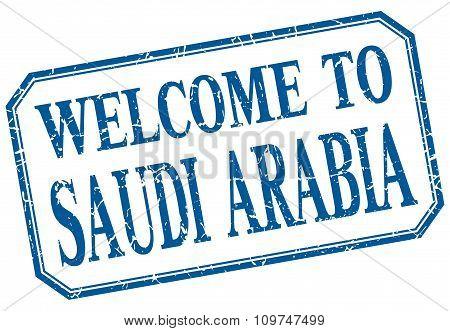Saudi Arabia - Welcome Blue Vintage Isolated Label