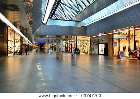 GENEVA, SWITZERLAND - NOVEMBER 18, 2015: interior of Geneva Airport. Geneva International Airport is the international airport of Geneva, Switzerland. It is located 4 km northwest of the city centre.