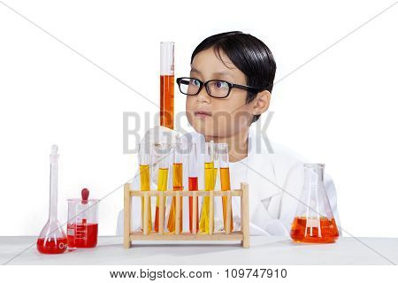 Curious Student Doing Chemical Experiment