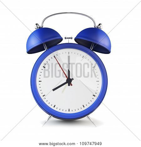 Blue Retro Style Alarm Clock Isolated On White Background.