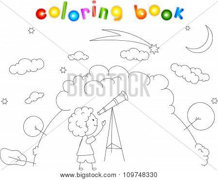 A Boy With A Telescope Looking At The Comet In The Night Sky With Stars And Moon. Coloring Book