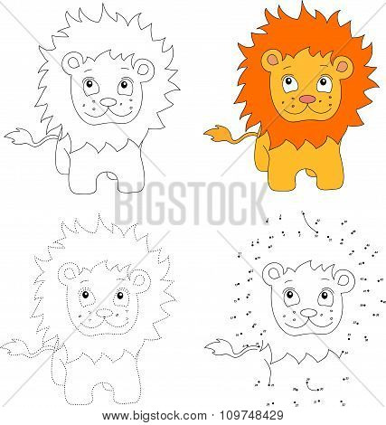 Cartoon Lion. Vector Illustration. Dot To Dot Game For Kids