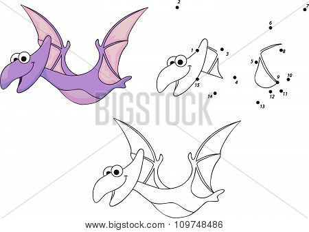 Funny Cute Pterodactyl. Educational Game For Kids. Connect Digits Dot To Dot And Ge Image