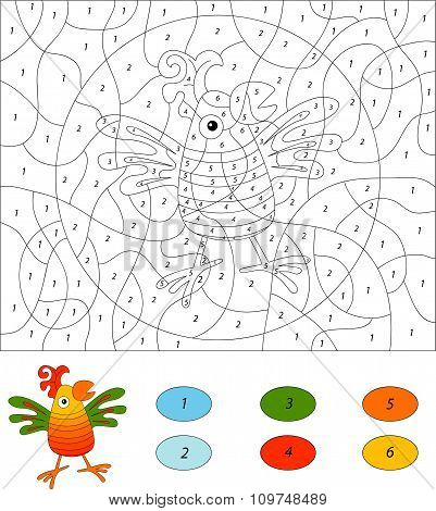 Color By Number Educational Game For Kids. Funny Cartoon Parrot. Vector Illustration