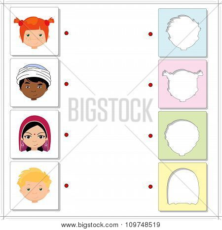 Boys And Girls Of Different Nationalities. Educational Game For Kids