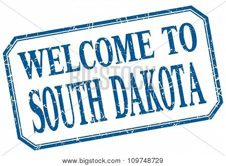 South Dakota - Welcome Blue Vintage Isolated Label Sign