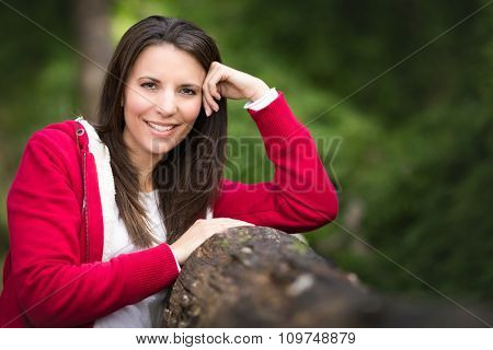 Beautiful smiling woman in bush