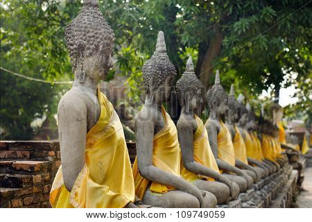 Series of buddha in an old Thai temple at Ayuthaya Thailand