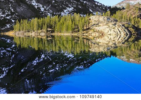 Mirror reflection at Ellery Lake in Yosemite