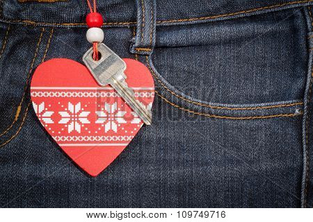 Jeans Background With Wooden Heart And Key..valentine's Day.