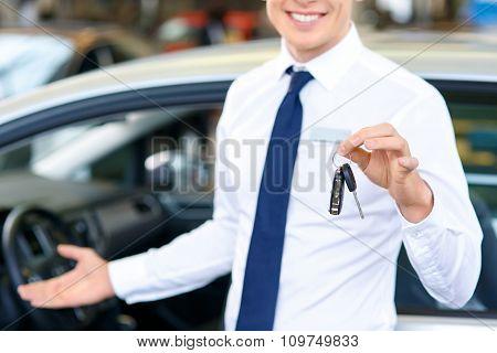 Pleasant sale assistant showing the car