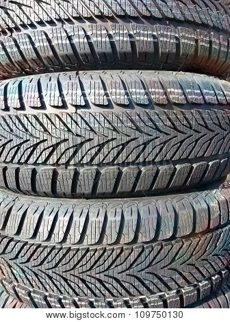 Winter Stack of Tires Background