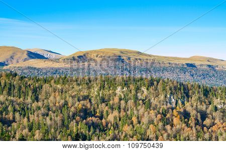 Beautiful Autumn Landscape. Mountains Forest Meadows.