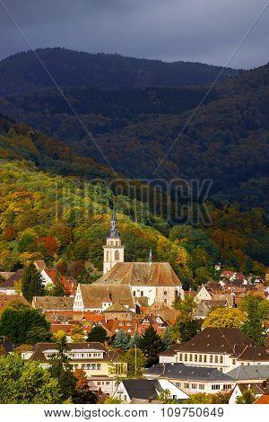Vivid Colors Of Autumn Vineyards In Andlau, Alsace