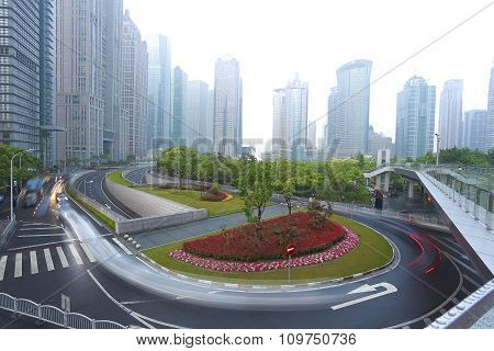 Empty Road With Modern City Architecture Background