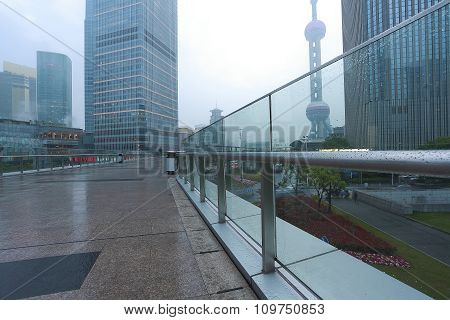 Empty Marble Floor Road With Modern City Architecture Background