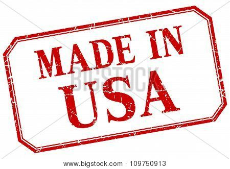 Usa - Made In Red Vintage Isolated Label