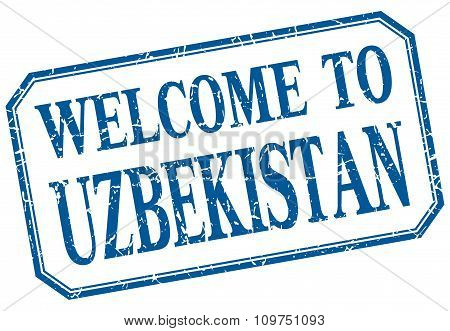 Uzbekistan - Welcome Blue Vintage Isolated Label Sign