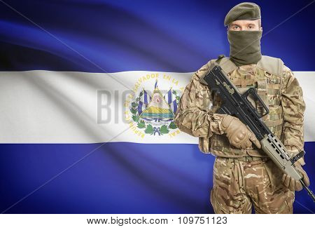 Soldier Holding Machine Gun With Flag On Background Series - El Salvador